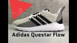 Adidas Questar Flow 'Ftwrwht/core black/raw white' | UNBOXING & ON FEET | fashion shoes | 2019