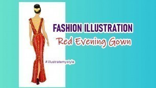 Fashion Illustration RED EVENING GOWN Fashion Design Drawing