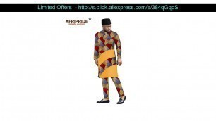 Get African Clothing for Men Print Long Shirts Ankara Pants Tribal Hat 3 Piece Suit Dashiki Outfits
