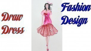 'How to Draw Evening Dress | Fashion Design model Dress #12'