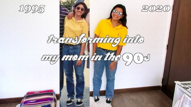 I transformed into my mom by recreating her 90's outfits