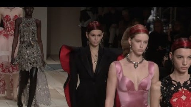 Kaia Gerber, Models and designer on the runway for the Alexander McQueen Fashion Show in Paris