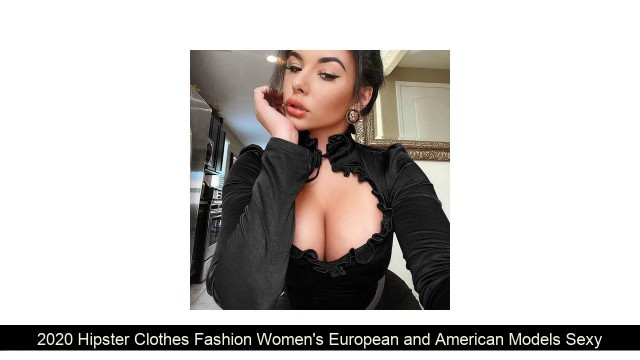 2020 Hipster Clothes Fashion Women's European and American Models Sexy Chest Hollow Lace Long Sleev