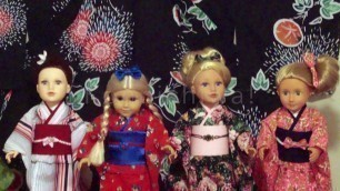 "Dressing American Girl doll & 18"""" dolls (EDO Girls): KIMONO CLOSE UP  """"New Beginning"""" ドール着物"