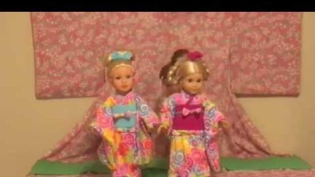 "EDO Girls: American Girl doll & 18"""" dolls  Kimono Fashion Show: Spring  アメリカンガールドール 着物ショー"