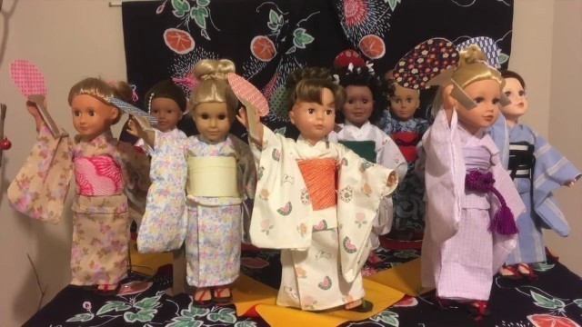 EDO Girls:  American Girl doll & 18 inch dolls  Kimono Show: Summer アメリカンガールドール(江戸がーるず)着物ショー