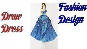 'Blue fashion skirt design   How to Draw Evening Dress   Fashion Design model Dress'