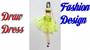 'How to Draw Evening Dress   Fashion Design model Dress #11'