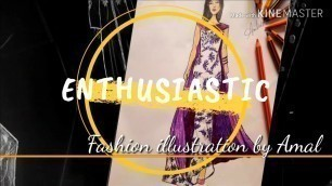 'FASHION ILLUSTRATION MODEL 5 : How TO Draw a Beautiful Dress /تعليم رسم وتصميم فستان طويل'