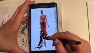 Fashion Illustration on Samsung Galaxy Note Edge  by designer Liliana Pryma