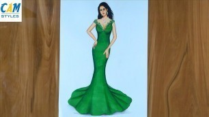 'How to draw a beautiful girl with green dress   Fashion illustration drawing   model drawing easy'