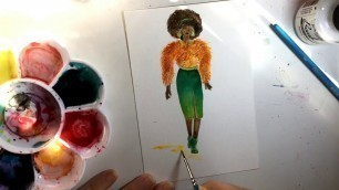 'Speed Painting Watercolor Fashion Illustration - 1970s Fashion and Pam Grier Foxy Brown Inspired'