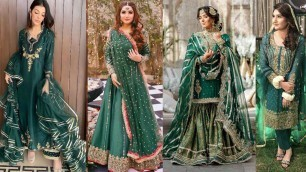 'gourgious party wear trendy green colour dress designing ideas 2021'
