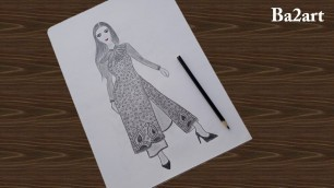 'Fashion illustration* how to draw model, kurti with plazo ,pencil sketch art*model outfit'
