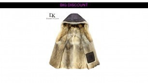 'for Wolf fur men Thick long coats fashion Designer the winter Warm Luxury hooded jackets E1125A'
