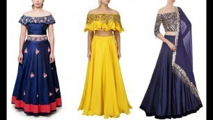 'Top 10 Latest Off Shoulder Fashion Blouse Designs With Lehenga'