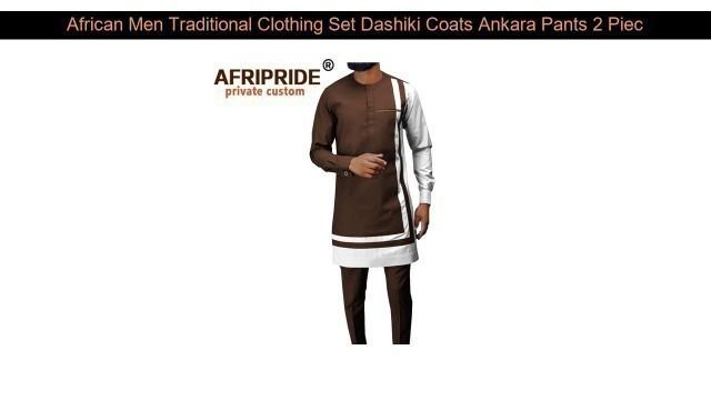 African Men Traditional Clothing Set Dashiki Coats Ankara Pants 2 Piece Set Long Sleeve Plus Size T