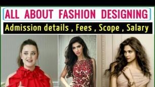 'Career in fashion designing | Scope of Fashion Designing | Salary of fashion designer'