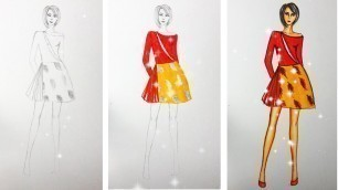 'How to Draw Evening Dress | Fashion Design model Dress #16'