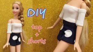 'Barbie Rapunzel clothes | DIY for dolls -TOP and SHORTS  #dolls #barbie #happydolls'