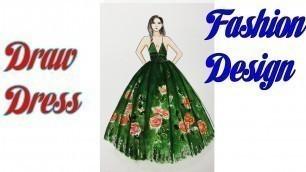 'How to Draw Evening Dress   Fashion Design model Dress #17'