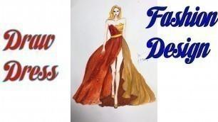 'How to Draw Evening Dress   Fashion Design model Dress #8'