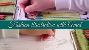 'FASHION ILLUSTRATION MODEL 2 : How TO Draw Traditional MOROCCAN/تعليم رسم وتصميم ازياء للزي المغربي'
