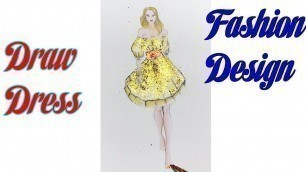 'How to Draw Evening Dress   Fashion Design model Dress #10'