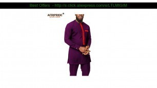 Get 2019 Dashiki Men African Clothing Ankara Shirts and Pants Set Tracksuit Tribal Outfits Bazin Ri