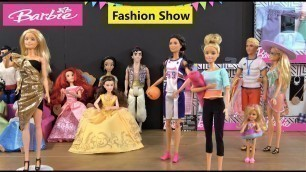 'Barbie Fashion Show for Disney Princesses Story with NEW Barbie and Ken Fashion, Barbie Car, Chelsea'