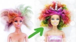 'DIY Unicorn Barbie Rainbow Hair