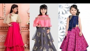 'Beautiful baby\'s designer dresses / croptop with lehenga designs idea\'s for baby girls'