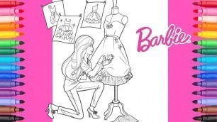'Coloring Barbie Fashion Designer | Barbie Coloring Pages'