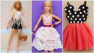 '5 Easy and Beautiful DIY Barbie Doll Dresses | Gown for Barbie'