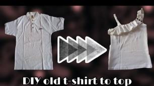 'DIY old t- shirt into top, one side shoulder top,  Fashion Designer'